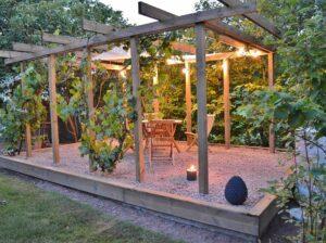 Lehtla viinapuude ja valguskettidega