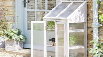 minikasvuhoone väikses aias